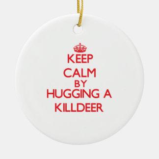 Guarde la calma abrazando un tipo de tero norteame adorno de navidad
