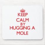 Guarde la calma abrazando un topo tapete de raton
