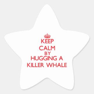 Guarde la calma abrazando una orca pegatina en forma de estrella