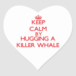 Guarde la calma abrazando una orca pegatina en forma de corazón