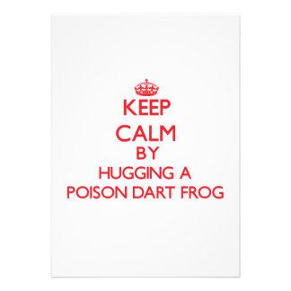 Guarde la calma abrazando una rana del dardo del v anuncio
