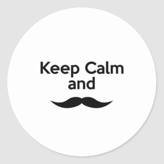 Guarde la calma, bigote del manillar pegatina redonda