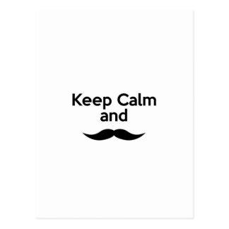 Guarde la calma, bigote del manillar tarjeta postal