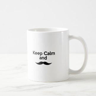 Guarde la calma, bigote del manillar taza de café
