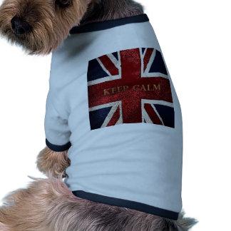Guarde la calma camiseta con mangas para perro