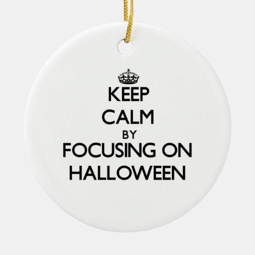 Guarde la calma centrándose el Halloween Ornamentos Para Reyes Magos