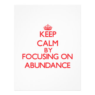 Guarde la calma centrándose en abundancia tarjeta publicitaria