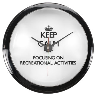 Guarde la calma centrándose en actividades recreat relojes aqua clock