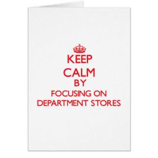 Guarde la calma centrándose en almacenes grandes tarjeta de felicitación
