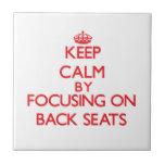 Guarde la calma centrándose en asientos traseros tejas