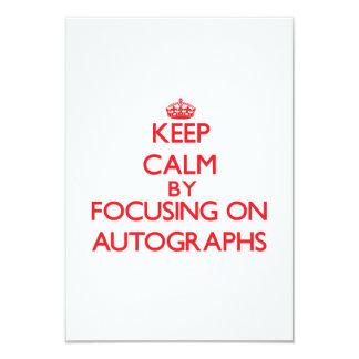Guarde la calma centrándose en autógrafos invitación 8,9 x 12,7 cm