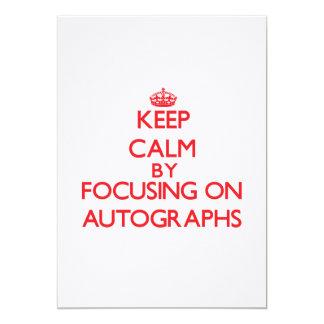 Guarde la calma centrándose en autógrafos invitación 12,7 x 17,8 cm