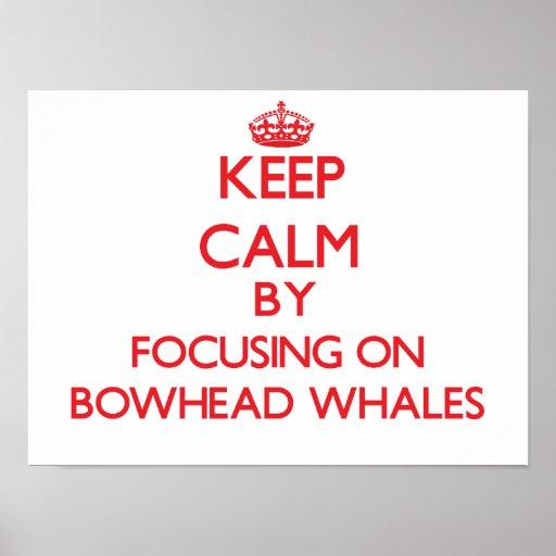 Guarde la calma centrándose en ballenas de Bowhead Posters