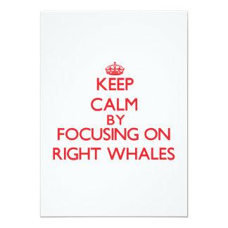 """Guarde la calma centrándose en ballenas derechas invitación 5"""" x 7"""""""