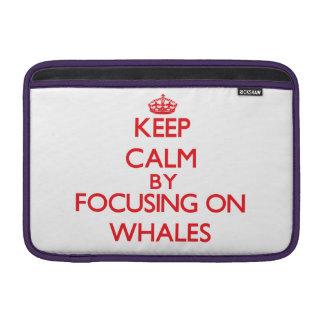 Guarde la calma centrándose en ballenas fundas para macbook air