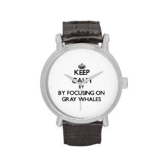 Guarde la calma centrándose en ballenas grises relojes de pulsera