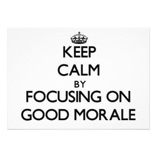 Guarde la calma centrándose en buena moral anuncio