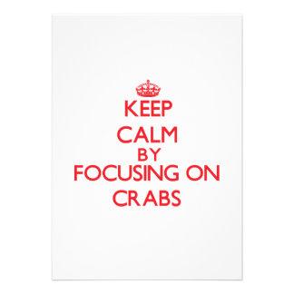 Guarde la calma centrándose en cangrejos anuncio personalizado