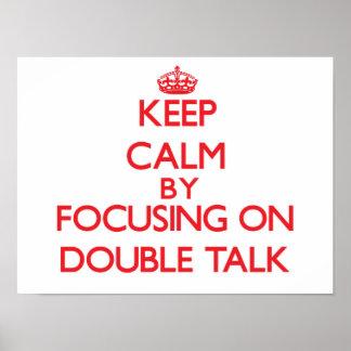 Guarde la calma centrándose en charla doble posters