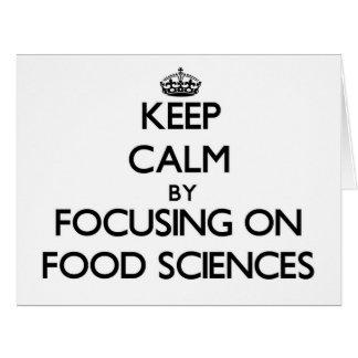 Guarde la calma centrándose en ciencias de la tarjeta de felicitación grande