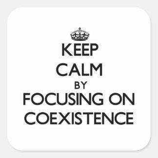 Guarde la calma centrándose en coexistencia pegatinas cuadradases