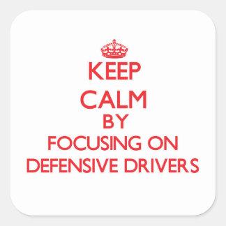Guarde la calma centrándose en conductores colcomanias cuadradases
