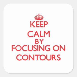 Guarde la calma centrándose en contornos colcomanias cuadradas