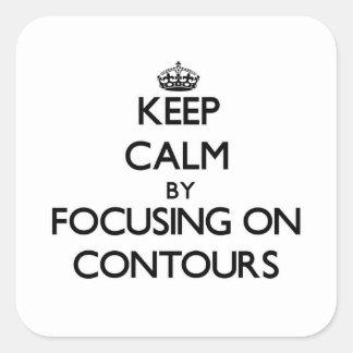 Guarde la calma centrándose en contornos calcomania cuadradas personalizada