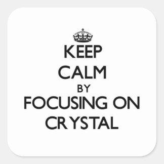 Guarde la calma centrándose en cristal calcomanía cuadradase