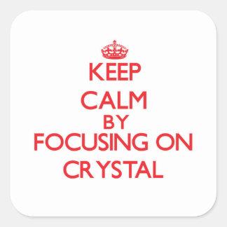 Guarde la calma centrándose en cristal calcomanías cuadradas