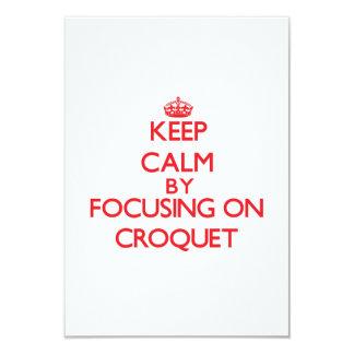 """Guarde la calma centrándose en croquet invitación 3.5"""" x 5"""""""