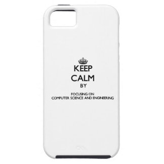 Guarde la calma centrándose en de informática y iPhone 5 Case-Mate carcasa