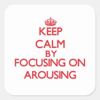 Guarde la calma centrándose en despertar colcomanias cuadradass