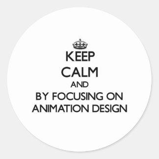 Guarde la calma centrándose en diseño de la etiquetas redondas