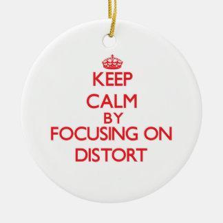 Guarde la calma centrándose en Distort Ornamentos De Navidad