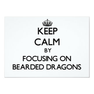 Guarde la calma centrándose en dragones barbudos invitación 12,7 x 17,8 cm