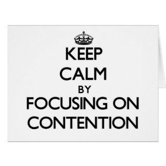 Guarde la calma centrándose en el argumento tarjeta de felicitación grande