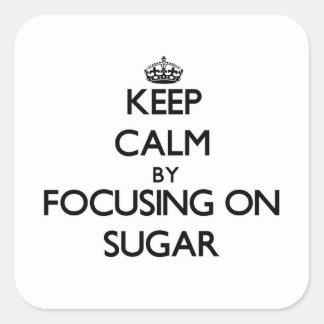 Guarde la calma centrándose en el azúcar pegatina cuadrada