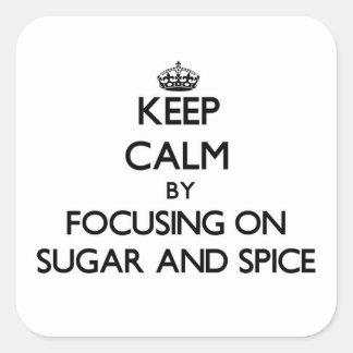 Guarde la calma centrándose en el azúcar y la pegatina cuadrada