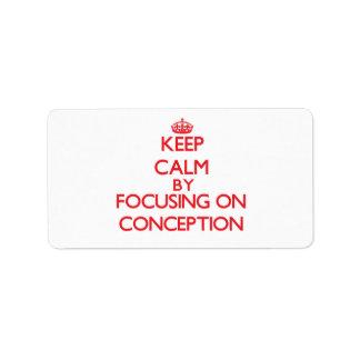 Guarde la calma centrándose en el concepto etiqueta de dirección
