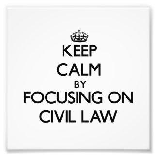 Guarde la calma centrándose en el derecho civil arte fotográfico