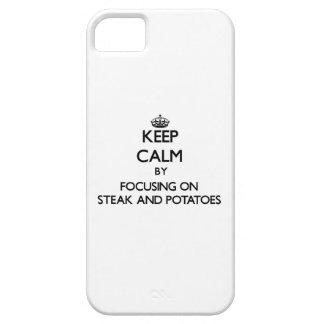 Guarde la calma centrándose en el filete y las pat iPhone 5 cobertura