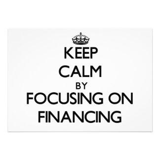 Guarde la calma centrándose en el financiamiento invitacion personalizada