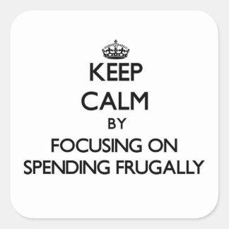Guarde la calma centrándose en el gasto frugalment calcomania cuadradas personalizada