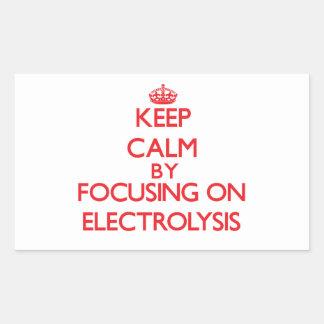 Guarde la calma centrándose en ELECTRÓLISIS Rectangular Pegatinas