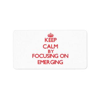 Guarde la calma centrándose en EMERGER Etiqueta De Dirección