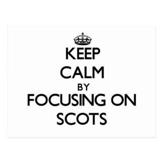 Guarde la calma centrándose en escocés tarjetas postales