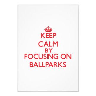 Guarde la calma centrándose en estadios de béisbol anuncios personalizados