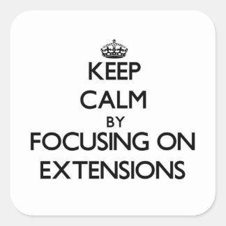 Guarde la calma centrándose en EXTENSIONES Calcomanías Cuadradass