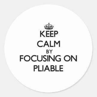Guarde la calma centrándose en flexible pegatina redonda